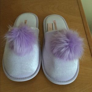 Victoria's Secret purple satin Pom Pom slippers.